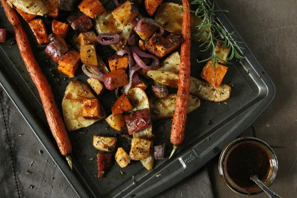 Maple Roasted Root Veggies- Foodness Gracious