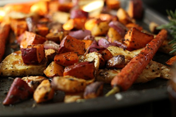 Root vegetables roasted in the oven