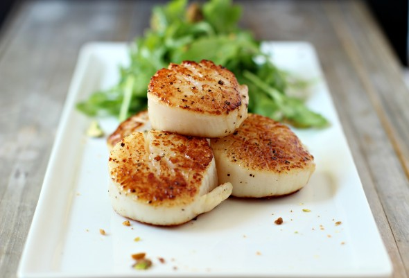 Perfectly crusted seared scallops
