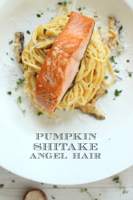 Easy weeknight meal, pumpkin pasta with coho salmon