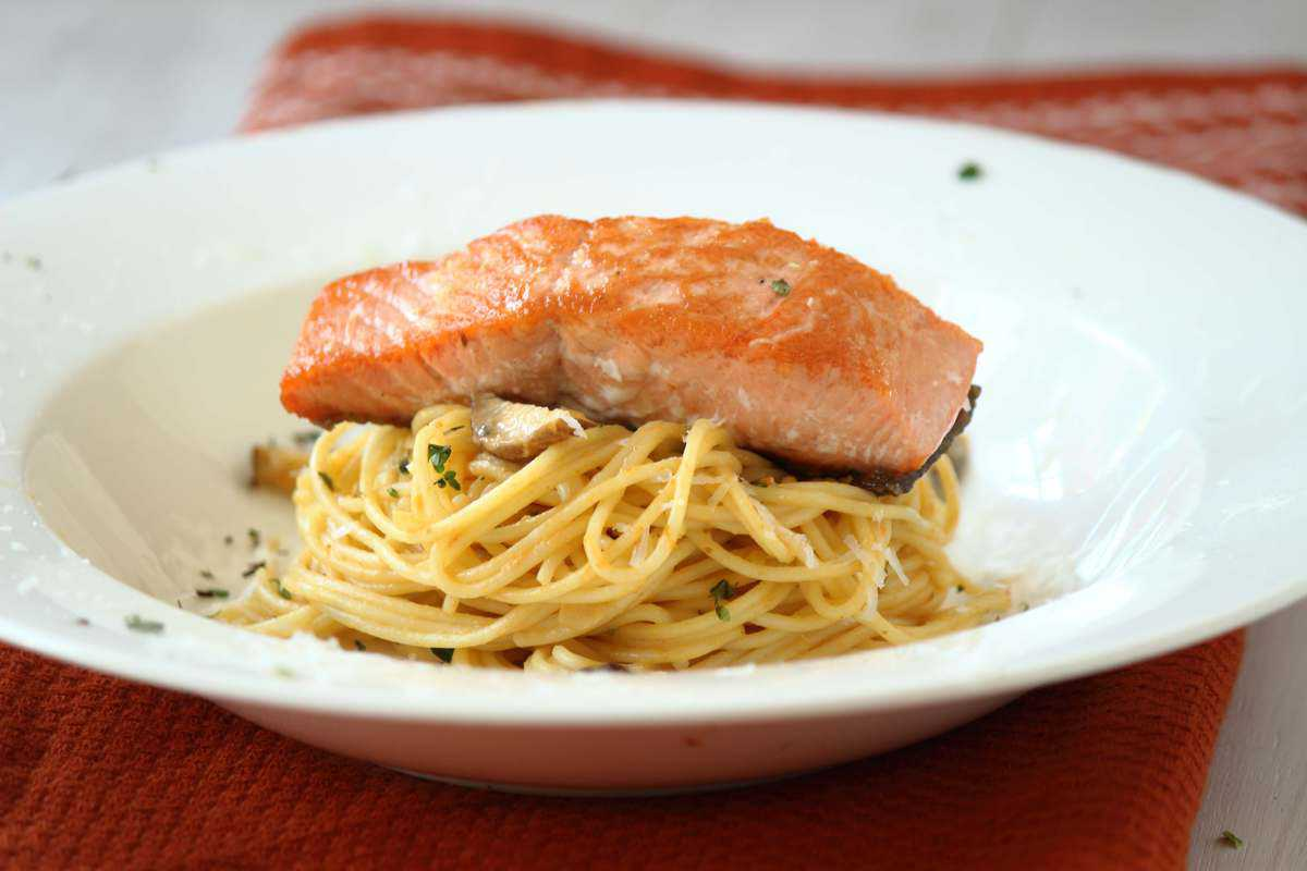 Pumpkin Pasta with Seared Salmon