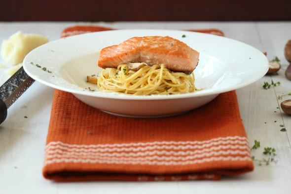 Yummy coho salmon with pumpkin cream pasta