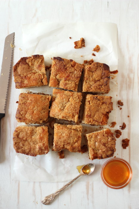 Slices of moist honey coffee cake