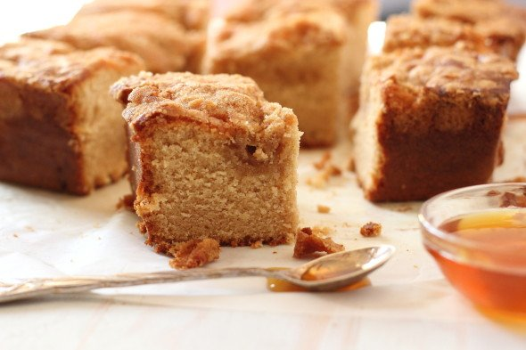 Moist honey coffee cake