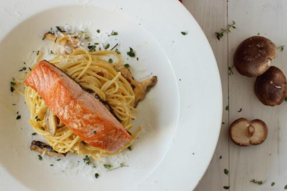 Fresh pasta and coho salmon