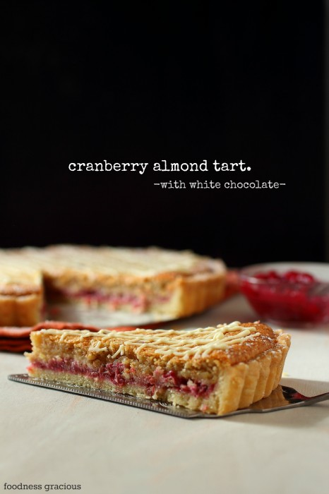 Easy white chocolate tart with cranberries