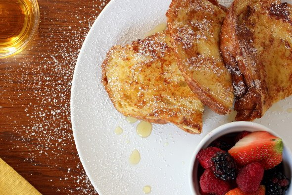 Delicious french toast with syrup
