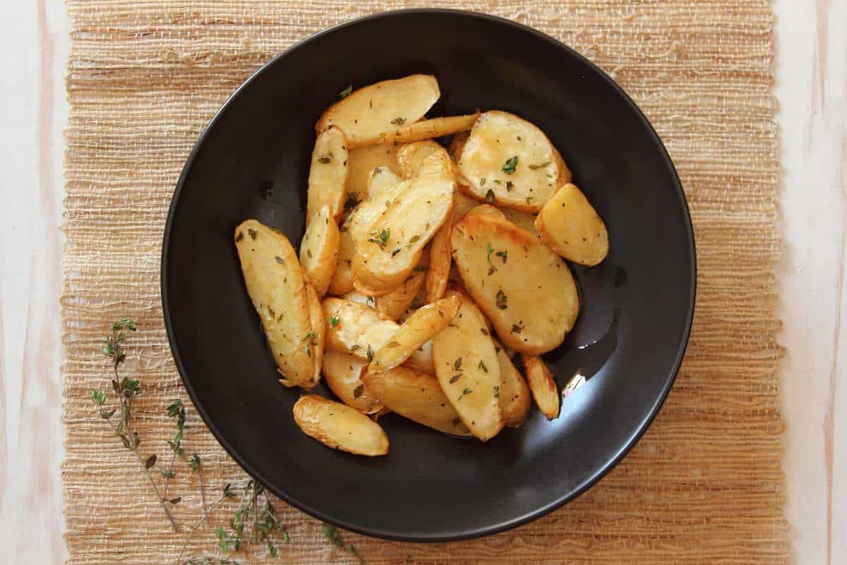 Oven Roasted Parsnips with Fresh Thyme and Sea Salt
