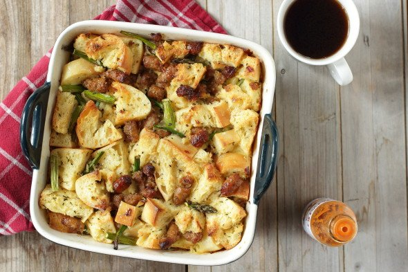 Tasty sausage breakfast bread pudding