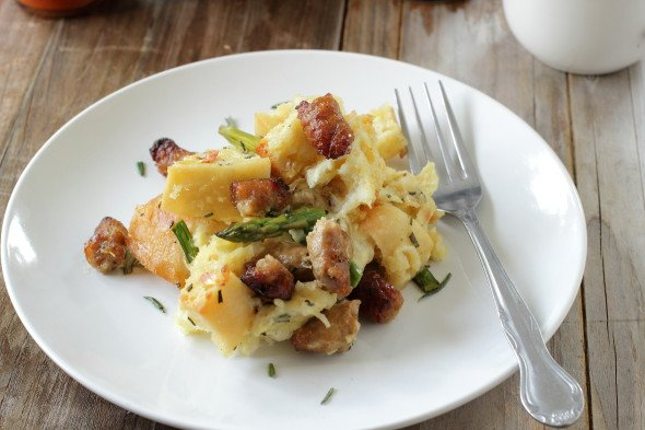 Sausage breakfast bread pudding