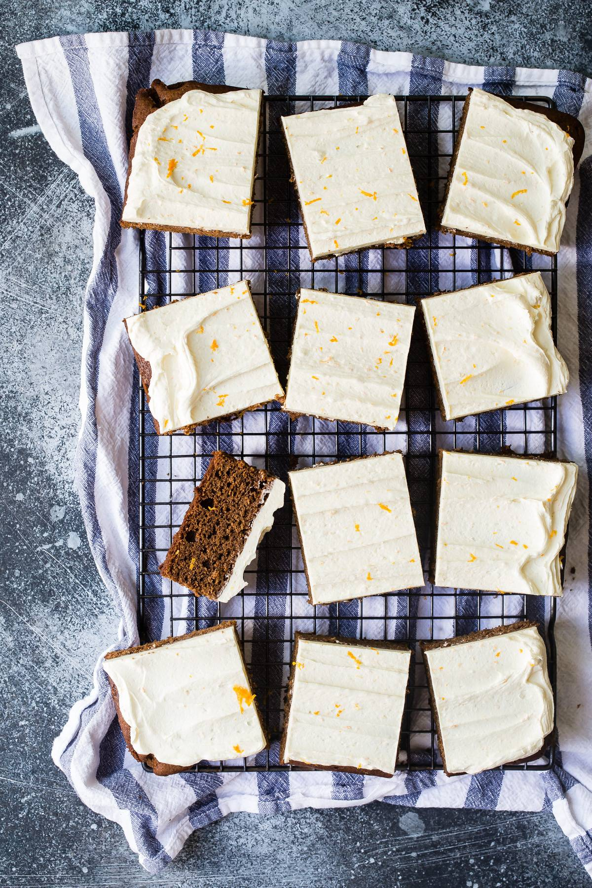 Awesome gingerbread cake with orange buttercream