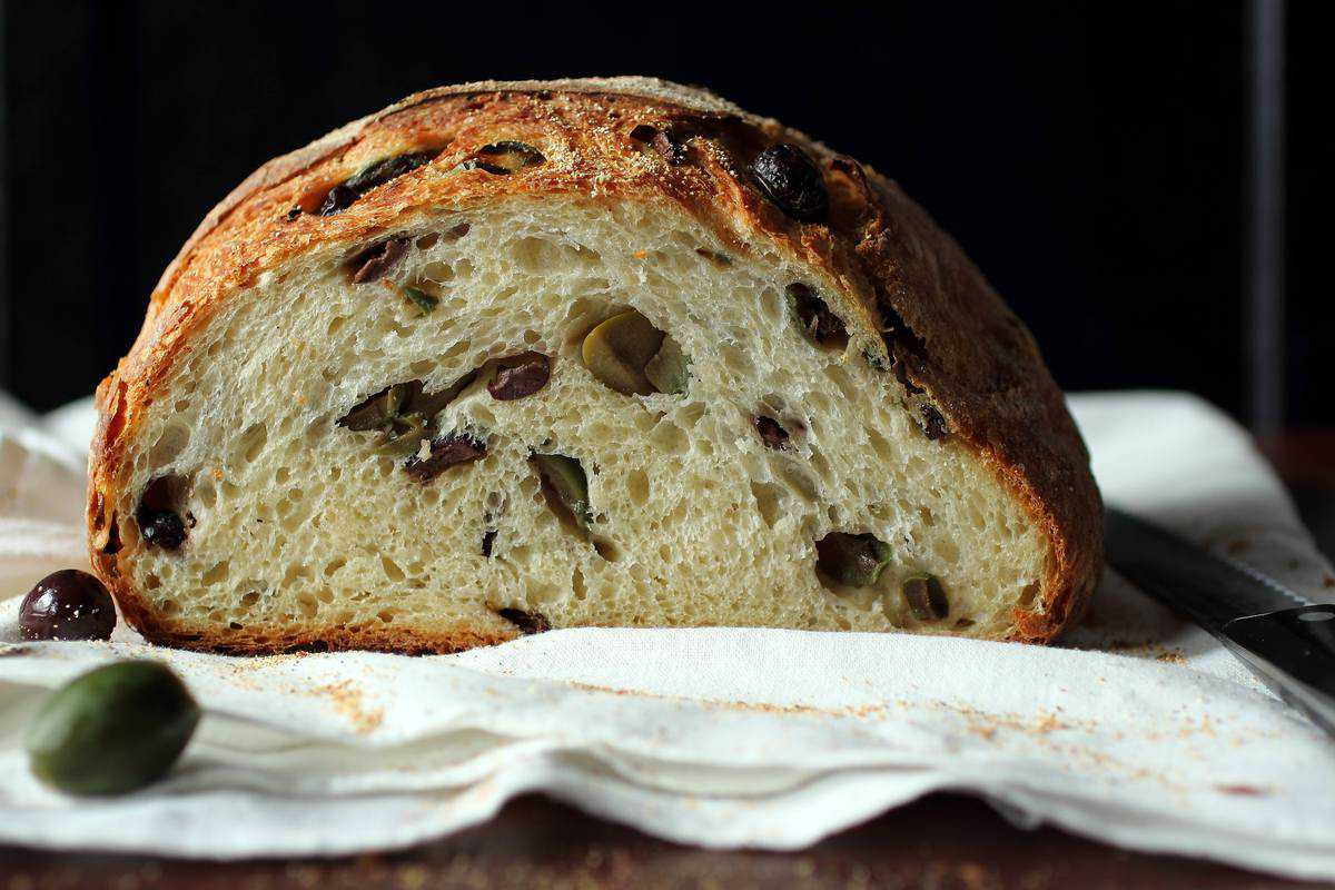Crusty Homemade Mediterranean Olive Bread
