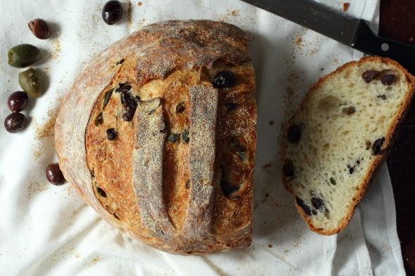 Crusty Homemade Mediterranean Olive Bread
