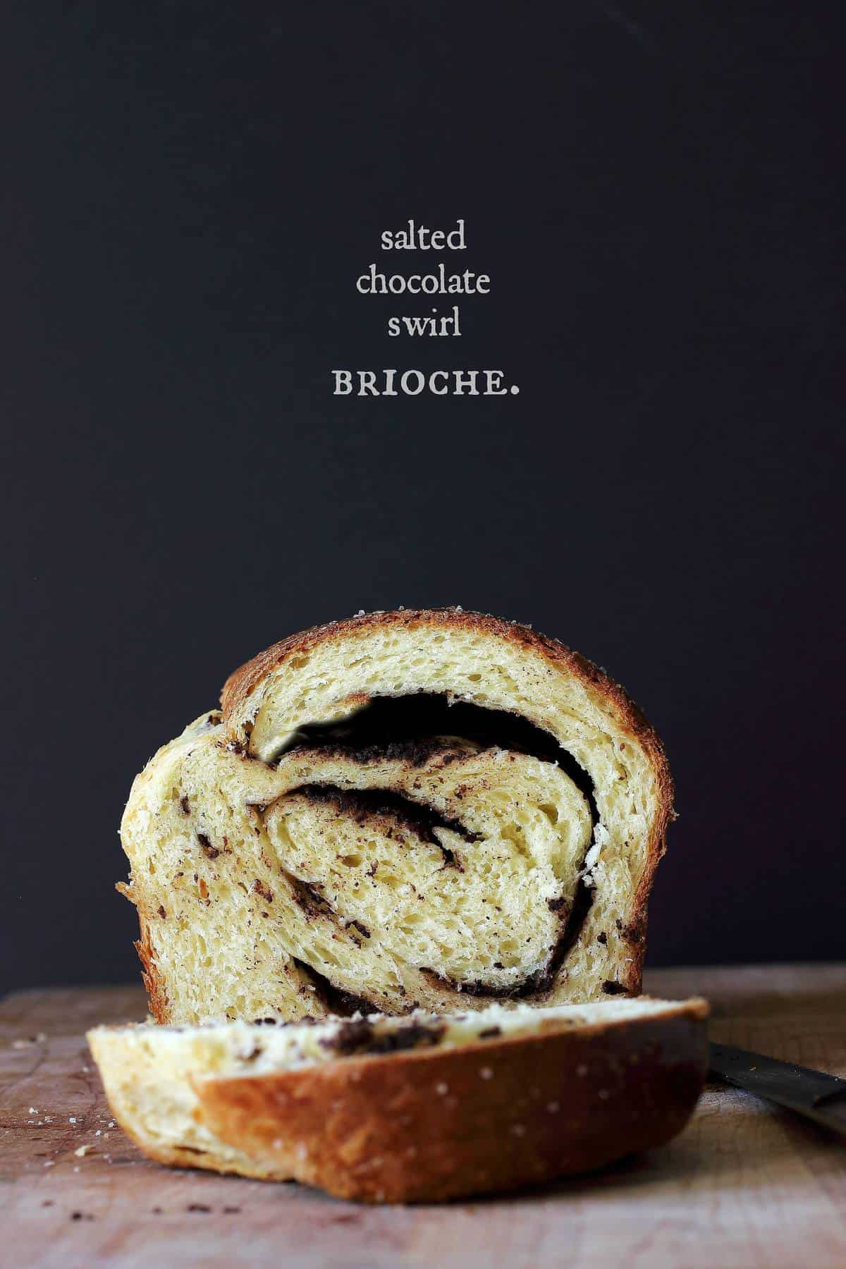 This chocolate brioche bread is rich with sugar and eggs, a classic brioche. The inside has a chocolate swirl filling and the top is sprinkled with sea salt