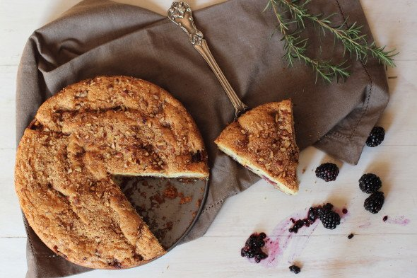 Blackberry and Rosemary Butter Coffee Cake