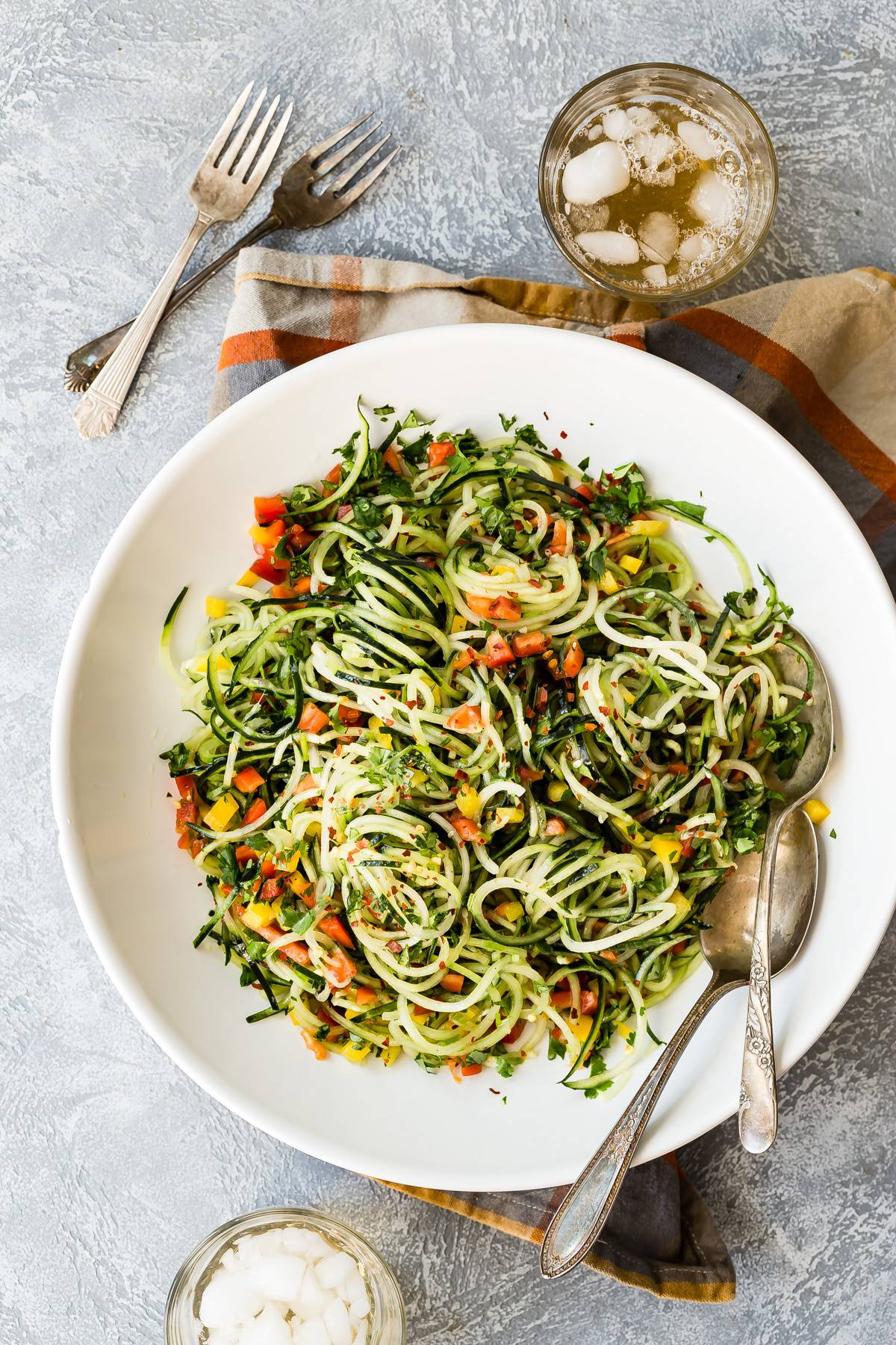 easy cucumber salad with cilantro on a plate