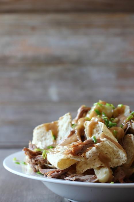 Crispy chips doused in gravy and shredded pulled pork