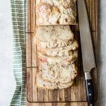 Breakfast bread slices on a cutting board