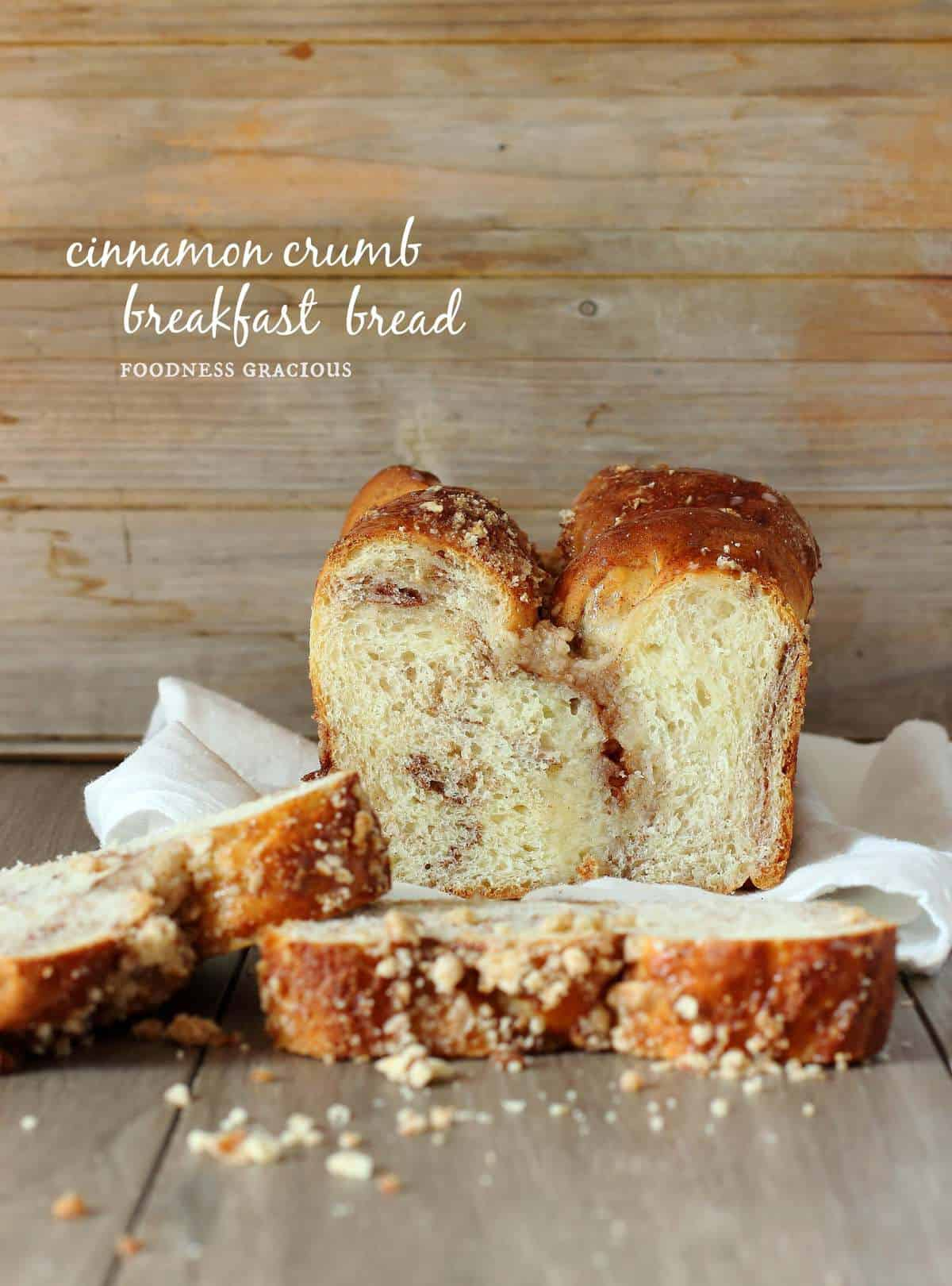 Make your own homemade breakfast bread loaded with cinnamon and topped with buttery crumbs!