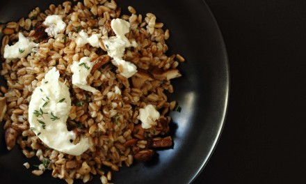Farro Salad with Burrata and Mushrooms