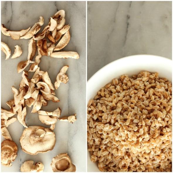 Mushrooms and farro grains