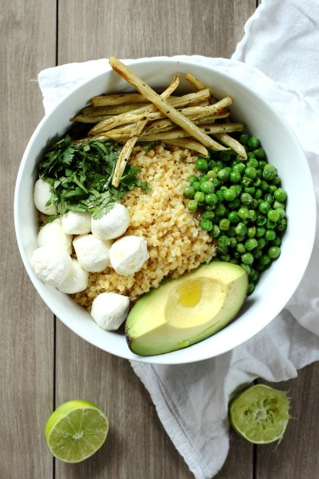 Bulgar and Mozzarella Salad with Roasted Yellow Beans and Avocado