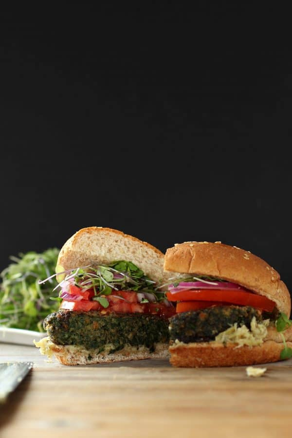Kale and Portobello Mushroom veggie burger