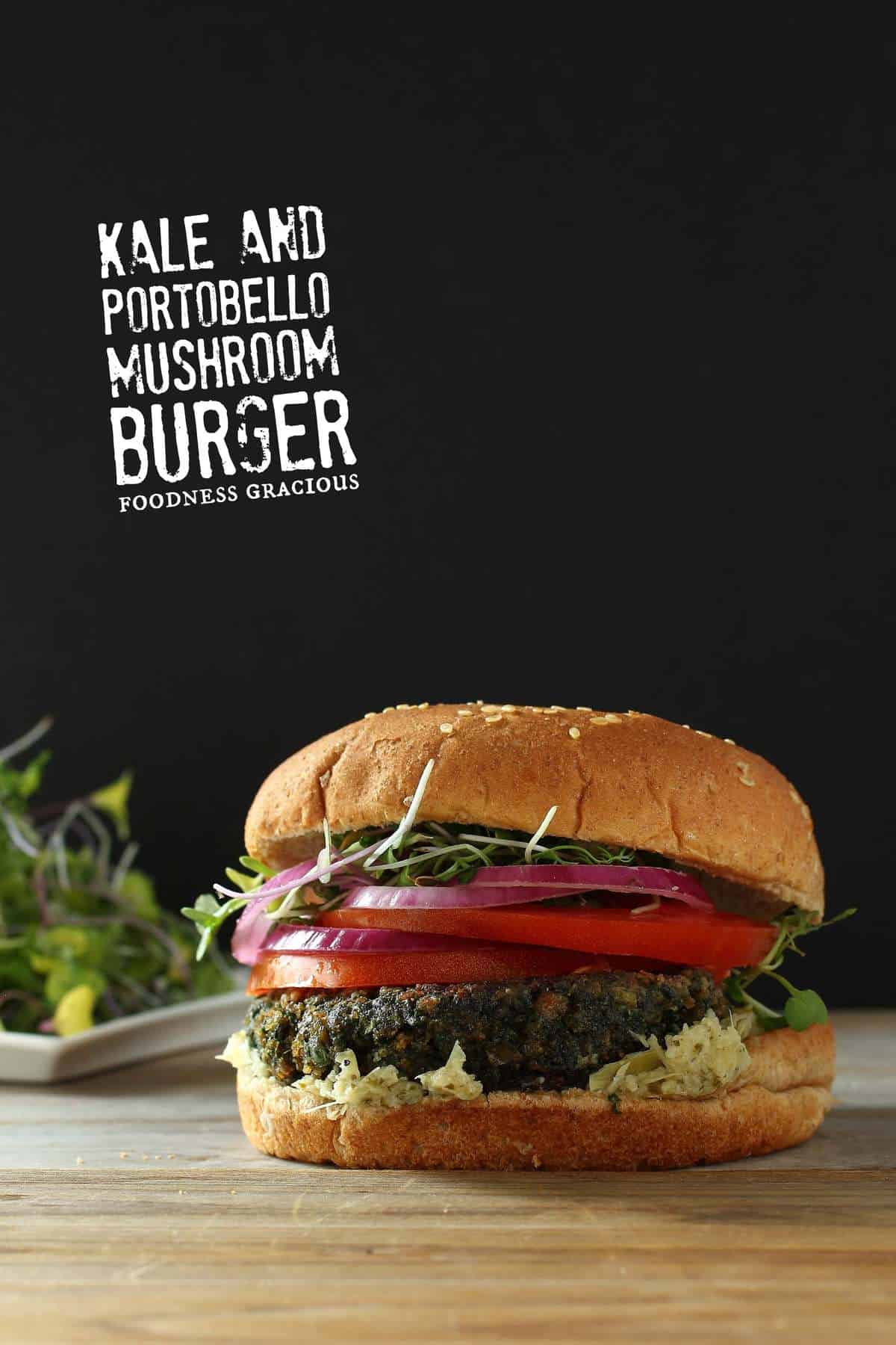 Healthy Kale and Portobello Veggie Burger