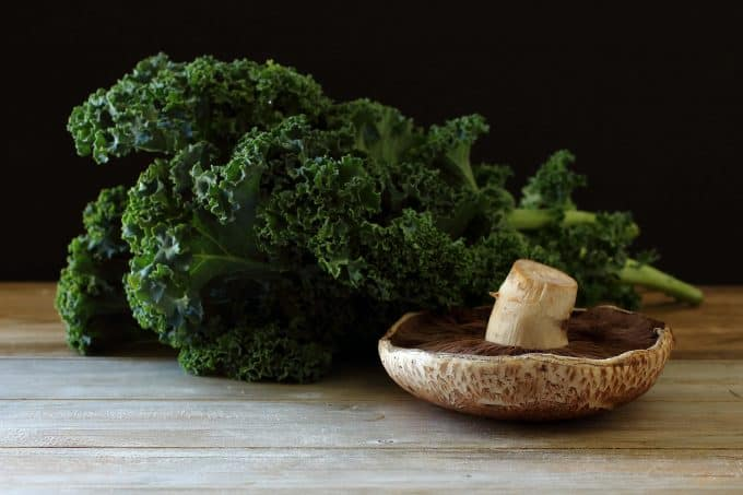 Kale and Portobello Mushrooms