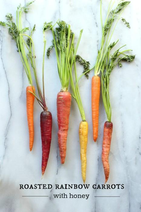 Roasted Rainbow Carrots with Honey and Rosemary