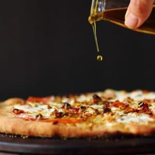 Burrata and Prosciutto Pizza with Pistachios