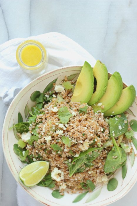 Creamy yogurt dressing and bulgur wheat salad