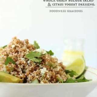 Whole grain bulgur with fresh cilantro and Cotija cheese