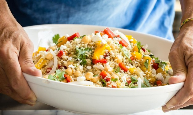 Healthy Quinoa Feta Salad with Mixed Vegetables and Cilantro Dressing