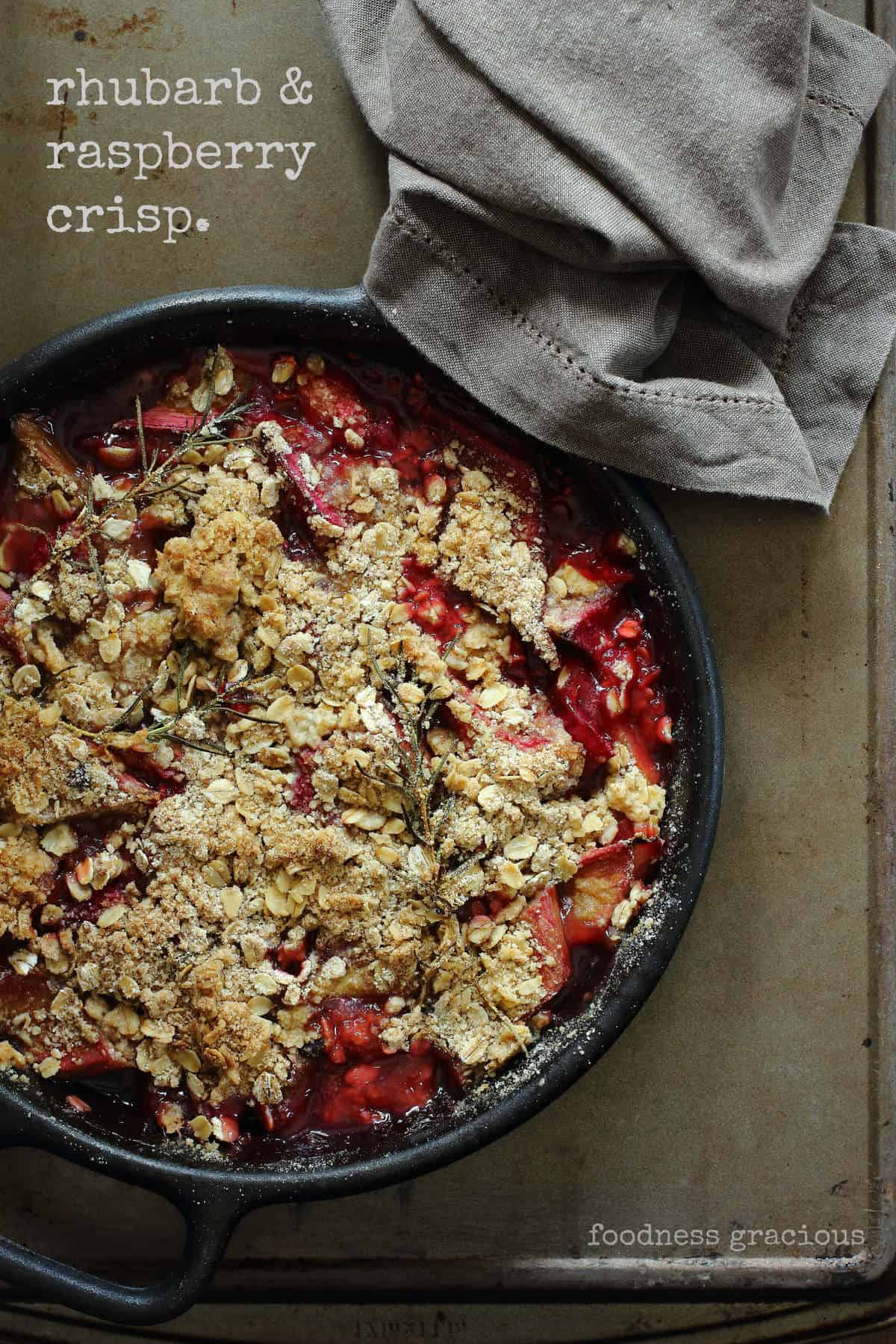 Simple Rhubarb Crisp with Raspberry and Rosemary