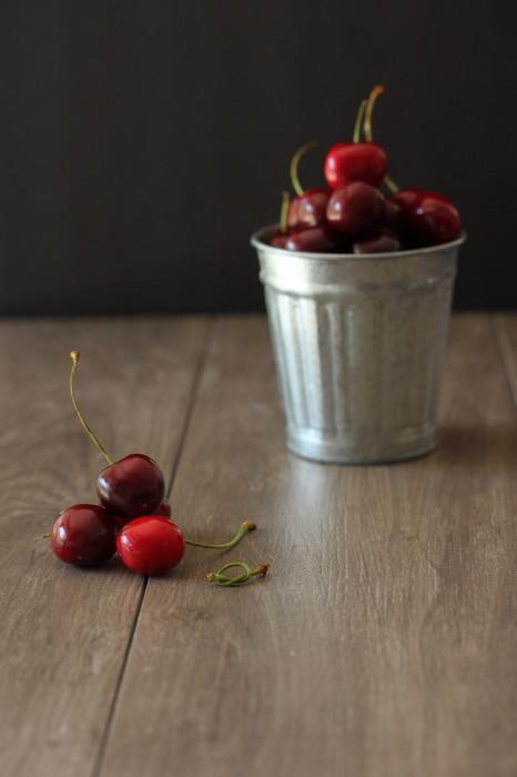Juicy ripe cherries and light sponge cake