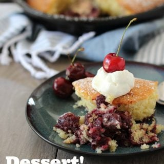 Cherries reduced in red wine and topped with a soft sponge