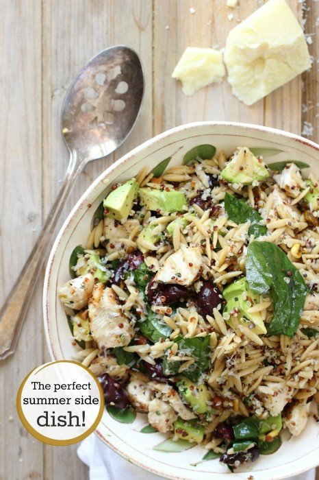 Quinoa, orzo and grilled chicken mixed with spinach and avocado.