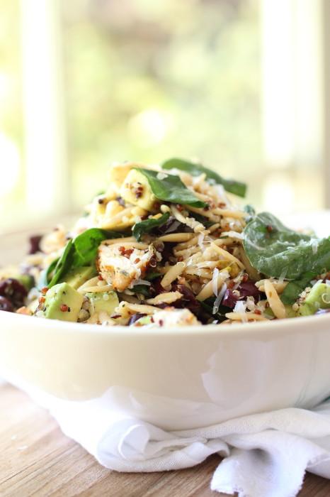 Healthy quinoa and orzo pasta salad