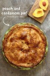 Fresh juicy peaches with cardamom in a flaky crust
