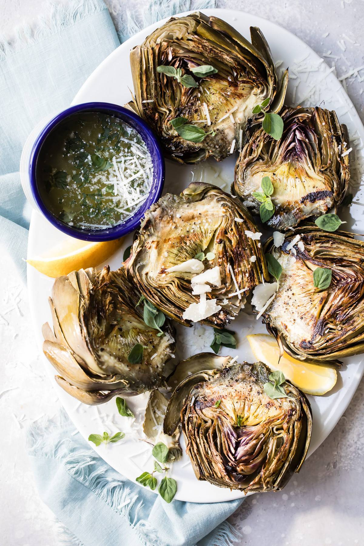 Grilled Artichokes with Garlic Parmesan Butter
