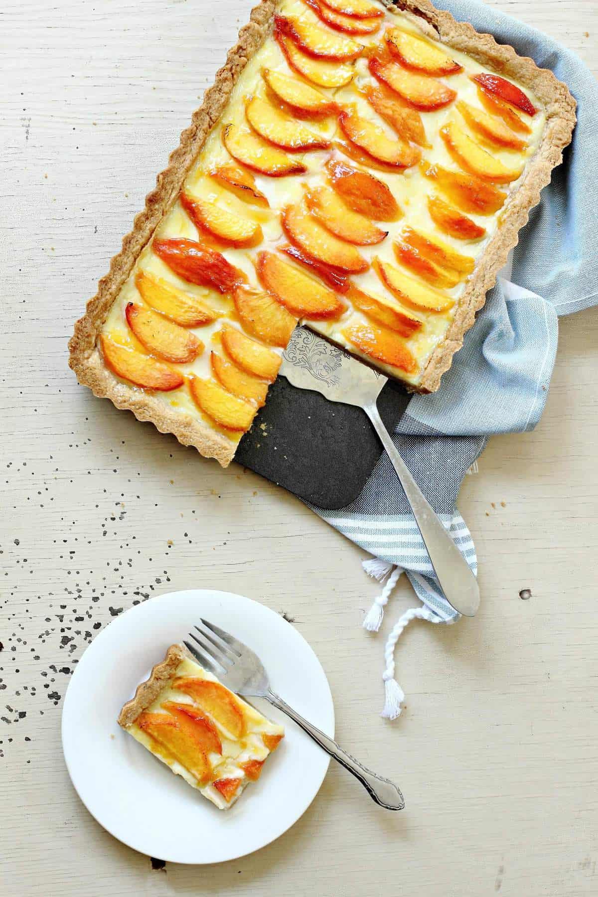 Peaches and Cream Custard Tart with a Rich Butter Crust