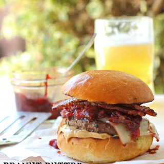 A juicy char-burger with creamy peanut butter and strawberry balsamic relish