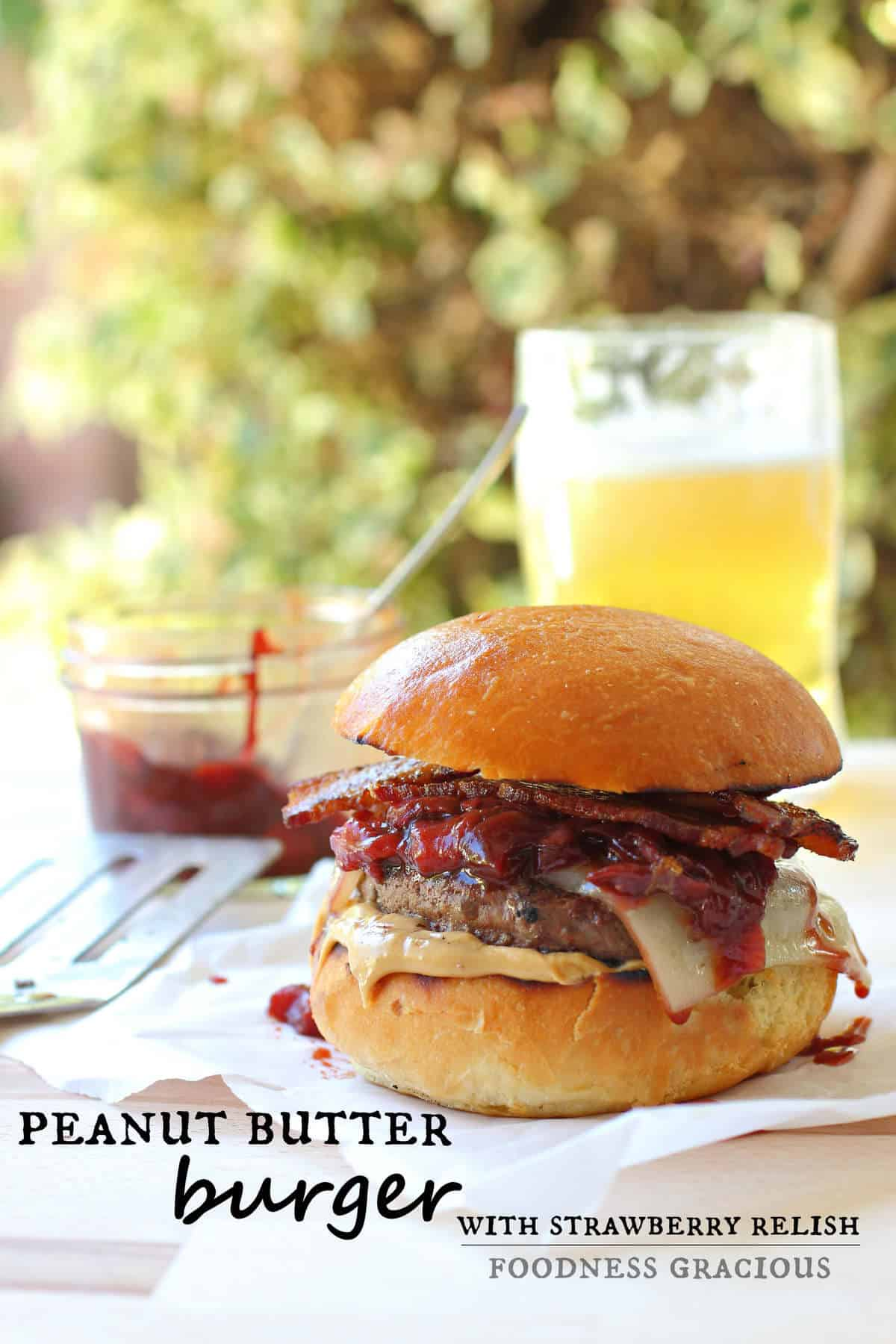 Peanut Butter Burger and Strawberry Relish