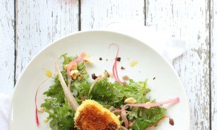 Kale Salad with Goat Cheese and Rhubarb
