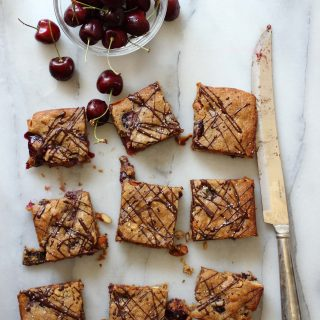 Soft blondies filled with chocolate, cherries and almonds