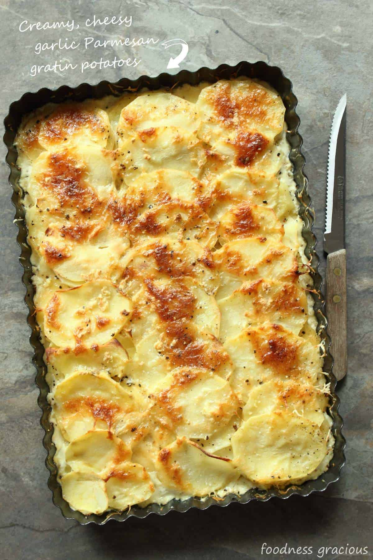 Easy Garlic Parmesan Potatoes Au Gratin