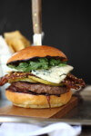A juicy beef patty topped with grilled pear, walnut bacon and creamy blue cheese