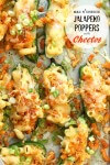 Spicy jalapenos stuffed with macaroni and topped with Cheetos