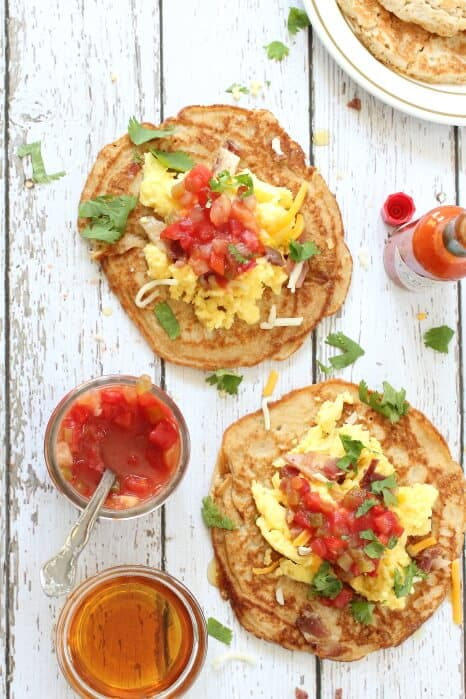 Awesome breakfast tacos with pancakes instead of tortillas.